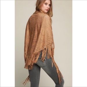 BOUTIQUE TAUPE VEGAN SUEDE SHAWL ONE SIZE FIT MOST